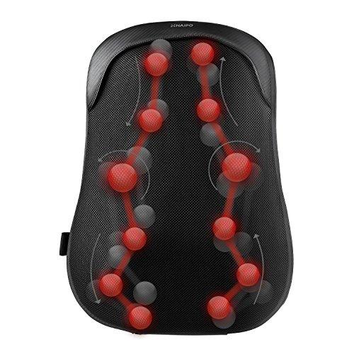 Shiatsu Rückenmassagegerät mit Wärmefunktion,Elektrisch Massagegerät im ergonomischem S-Design, Tiefgehende Akupressurmassage mit Schutzschicht,Entspannung für Haus Büro Auto