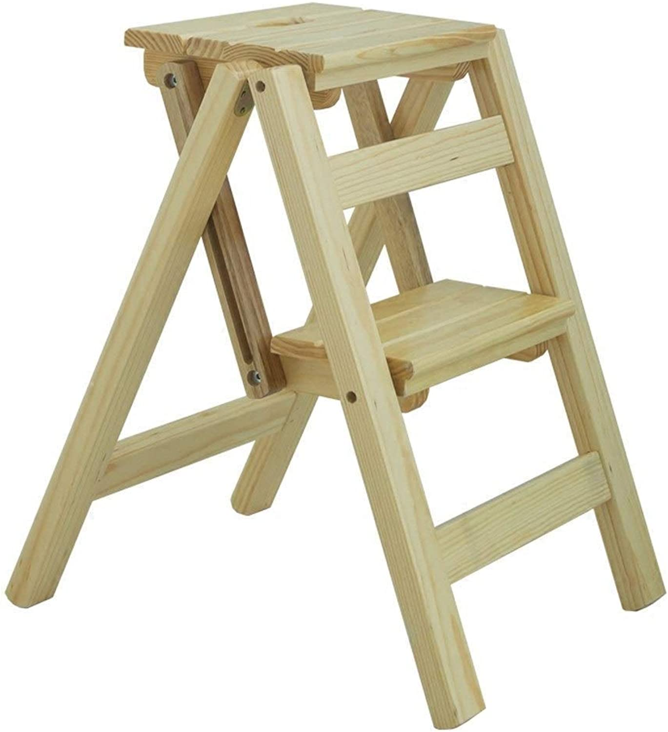 Multi-Function Folding Ladder - Home High Stool - Indoor Step Stool - Dual-use Solid Wood Step Stool - Folding Stool (color   A)
