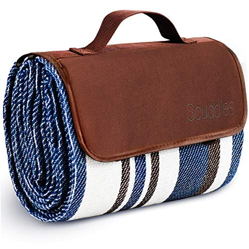 Extra Large Picnic & Outdoor Blanket Dual Layers for Outdoor Water-Resistant Handy Mat Tote Spring Summer Blue and White Striped Great for The Beach,...