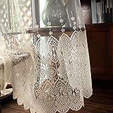 TIYANA Transparent Sheer Lace Curtain Rod Pocket Top 1 Piece, 40' W x 63' L