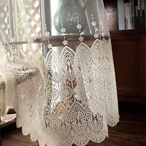 """TIYANA Transparent Sheer Lace Curtain Rod Pocket Top 1 Piece, 40"""" W x 63"""" L"""
