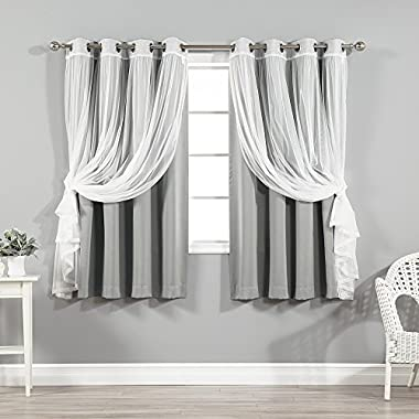 Best Home Fashion Mix & Match Tulle Sheer Lace and Blackout Curtain Set – Stainless Steel Nickel Grommet Top – Grey – 52 W x 63 L – (2 Curtains and 2 Sheer curtains)