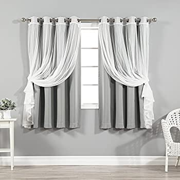 Best Home Fashion uMIXm Tulle Sheer Lace and Blackout 4 Piece Curtain Set – Stainless Steel Nickel Grommet Top – Grey – 52  W x 63  L –  Set of 4 Panels
