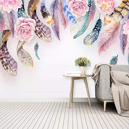 BHXIAOBAOZI eigen 4D muurschildering groot behang, abstracte veren en roze rozen, moderne Hd zijde muurschildering poster afbeelding TV sofa achtergrond muur decoratie voor woonkamer 300cm(W)×200cm(H) 9.84×6.56 ft