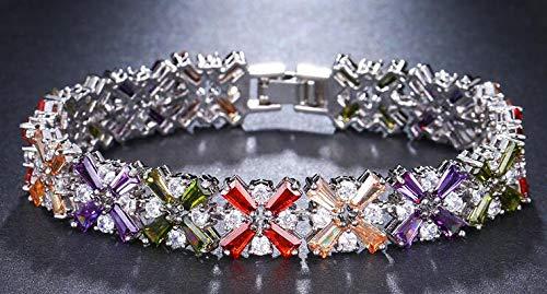 SZSLXQE Elegantie Bedel Zirkoon Multi kleuren Plant Crystal Armbanden Voor Vrouwen Populaire Sieraden Bruiloft Party Gift