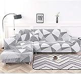 NIBESSER Funda de sofá con chaise longue elástica de 16 piezas, funda de sofá en forma de L, lavable, fundas para sofá esquinero para salón con motivos modernos (geometría blanca, 2 plazas + 2 plazas)