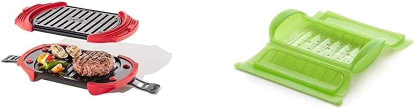 Lékué Microwave Grill, Red microondas, Acero, rojo y negro + - Estuche de vapor con bandeja, 1-2 personas, color verde