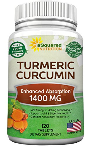 Pure Turmeric Curcumin 1400mg Supplement - 120 Tablets - 100% Natural Tumeric Root Powder & Black Pepper Extract Formula, Joint Pain Support Veggie Pills, Anti-Inflammatory Antioxidant