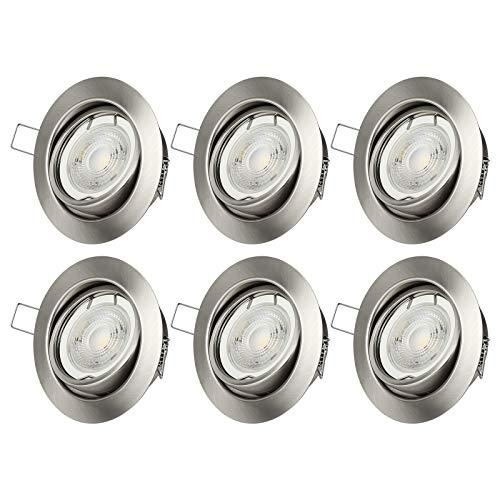 Foco LED empotrable de Dwenwis, regulable, 230 V, plano, 3000 K, luz blanca cálida, 500 lm, juego de 6 focos de techo giratorios, certificado CE & VDE