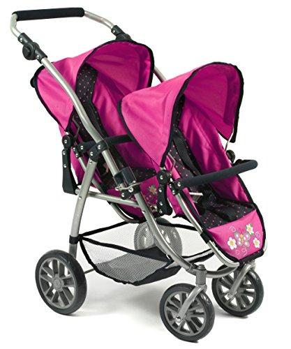Bayer Chic 2000 689 12 Tandem-Buggy Vario, Zwillings-Puppenwagen, Dots Navy-pink, blau, pink