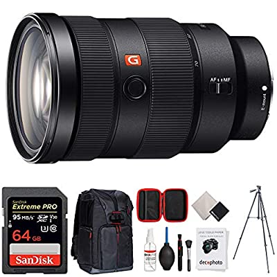 Sony FE 24-70mm F2.8 GM Full Frame E-Mount Lens (SEL2470GM) w/ 64GB Accessories Bundle Includes, 64GB SDXC Memory Card, Photo Camera Sling Backpack, 60 Video Tripod and All-in-One Cleaning Kit from Sony