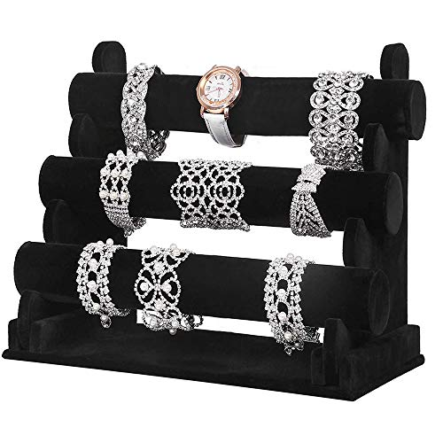 BUZIFU Bracelet Holder 3 Tier Black Watch Bracelets Velvet Jewellery Stand Scrunchy Organizer Watch Display Jewelry Display Stand Holder for Showing Watches Bangles & Bracelets (Black)