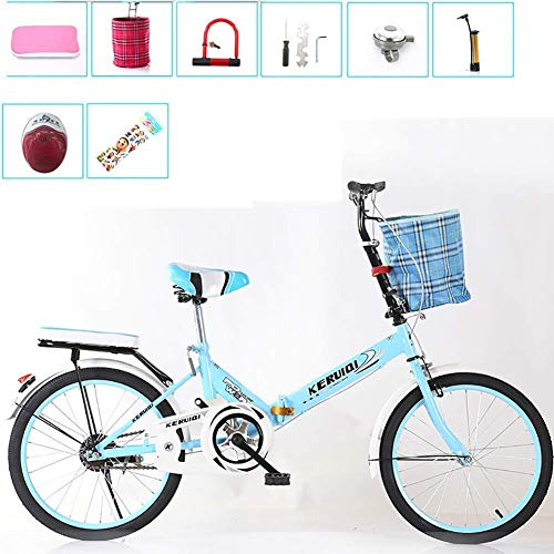 Klapprad Frauen leichte Arbeit erwachsene erwachsene ultraleichte variabler Geschwindigkeit tragbar Erwachsene 16 20 Zoll kleine Schüler männlich Fahrrad Klapprad Fahrradträger blau 20 Zoll (Farbe: bl