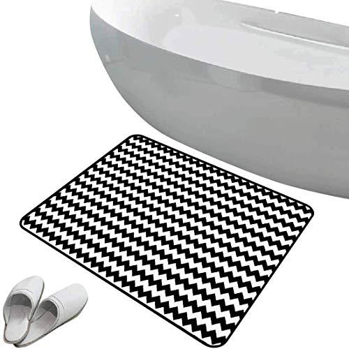 Alfombra de baño antideslizante de felpudo Cheurón Alfombrilla goma antideslizante Zig Zags en blanco y negro Sharp Arrow Inspired Classic Retro Tile Monochrome,Black White,Interior/Exterior/Puerta de