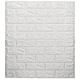 10-Pack 57.5 Sq.Ft Faux Brick Panels 3D for Wall Décor Peel and Stick in White