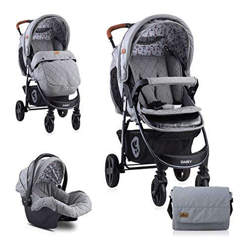 Lorelli Poussette Daisy 2 en 1, siège auto bébé, siège sport, couvre-pieds, coloris:gris foncé