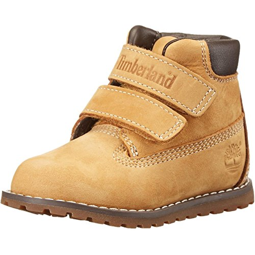 Timberland Unisex-Kinder Pokey Pine Hook & Loop Kurzschaft Stiefel, Gelb (Wheat), 24 EU
