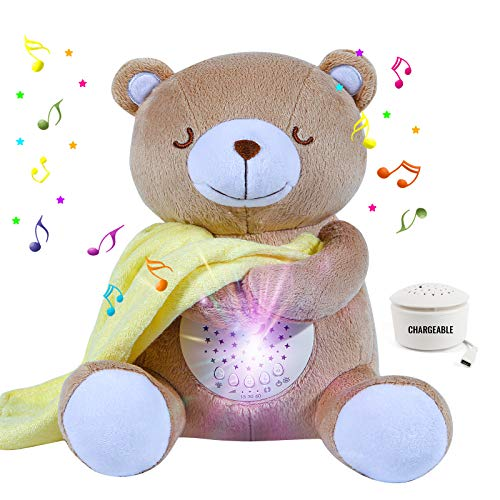 Chargeable Baby Crib Soother Sleep Buddy Night Light and Sound Machine, Sleep Soothers Music Player Baby White Noise with Crying Detector 15 Lullaby ,My Star Belly & Baby Registry Items (Bear)