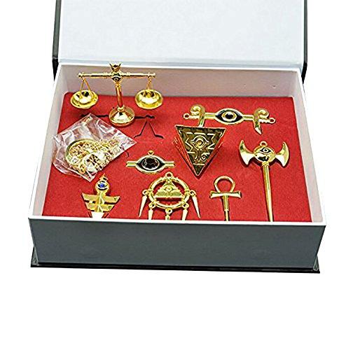 Yugioh Millenium Items Puzzle Eye Rod Ring Scale Necklace Keychain Pendant Set