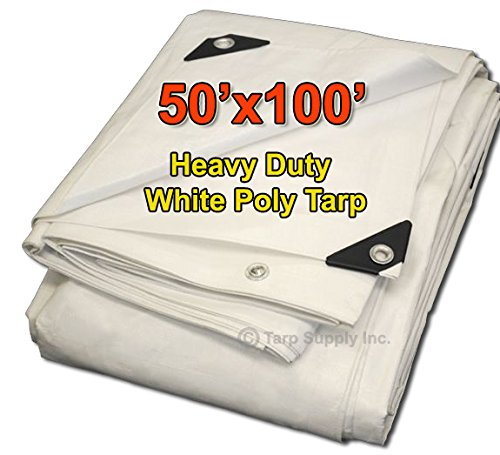 Tarpsupply 50'x100' Heavy Duty 12 by 12 Cross Weave White Poly Tarp with Grommets Approx Every 18 Inches All Around, Corner Solid Plastic Bar Reinforcement for Extra Strength