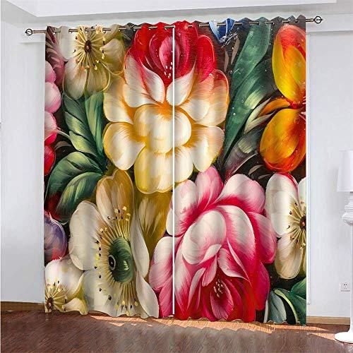 YUNSW 3D-Malerei Digitaldruck Vorhänge, Garten Wohnzimmer Küche Schlafzimmer Verdunkelungsvorhänge, Lochvorhänge 2-teiliges Set