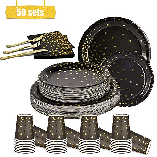 50 Set Disposable Paper Plates Dinnerware, Biodegradable and Recyclable Disposable Plates, for Picnics, BBQs and Parties