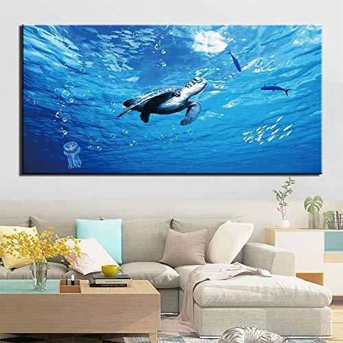 zgwxp77 HD Druck Gemälde Heimdeko Bild Tier Schildkröte Wandbild Poster Gemälde auf Moderne Wohnzimmer Leinwand, a, 50x100cm No Frame
