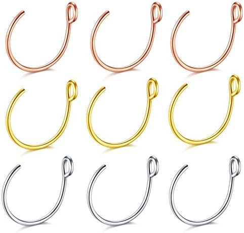D.Bella Fake Nose Ring, 20G Faux Piercing Jewelry 8mm Fake Nose Ring Hoop for Faux Lip Septum Nose Ring Set
