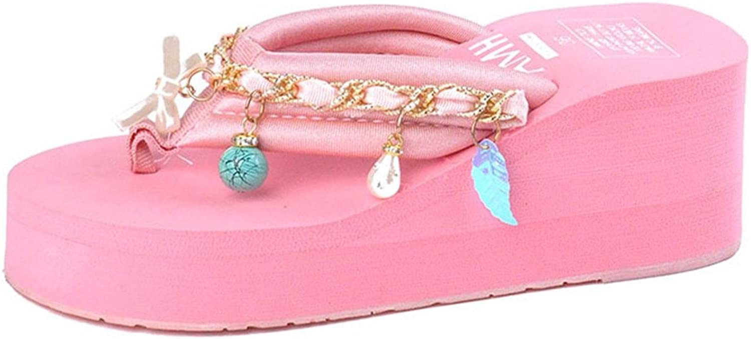 U-MAC Flip Flops Sandals for Womens Thong Slippers with Pendants Mid Heel Sole for Beach Holiday Summer