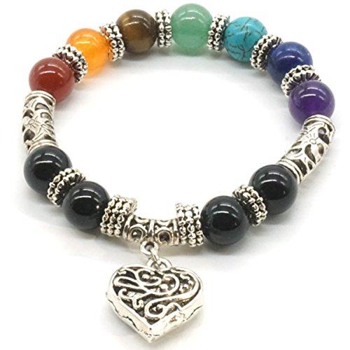 Mayting 10 MM de Cuentas de Yoga de Equilibrio de Reiki Curación Pulsera 7 Chakra Plata de Color Antiguo Corazón Hueco de Pulsera