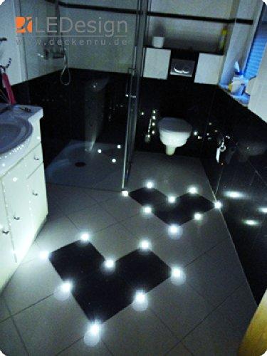 40x Fliesen LED 3mm Fuge Licht Beleuchtung inkl. Trafo Fugenlicht Kreuz Fliesenlicht weiß (kalt-weiß)