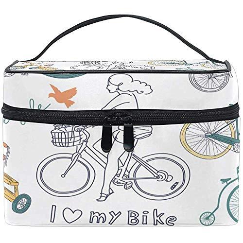 Reizen Cosmetische Tas Bike Meisje Letter Vogel Make-up Tas Buidelzak Tote Case Organizer Opslag voor Vrouwen Meisjes