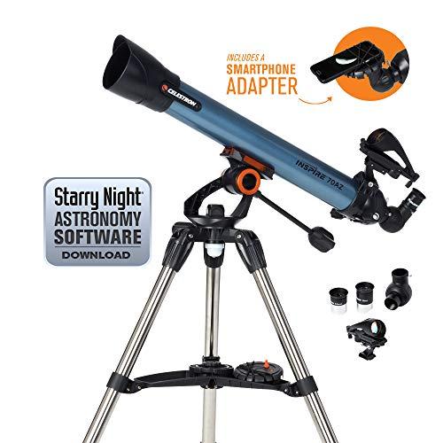 Celestron Inspire - Telescopio astronómico (70 mm de Apertura, 700 mm de Distancia Focal, f/10 de relación Focal) Color Azul y Negro