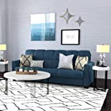 Mainstays Baja Microfiber Futon Sofa Sleeper Bed, Medium Blue