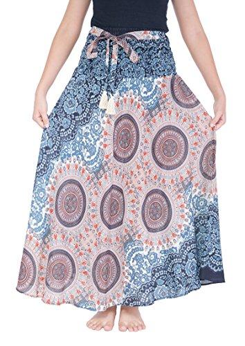 Lannaclothesdesign Women's 37' Long Maxi Skirt Bohemian Gypsy Hippie Style Clothing (US 37 INC L-XL, Black White Rose)