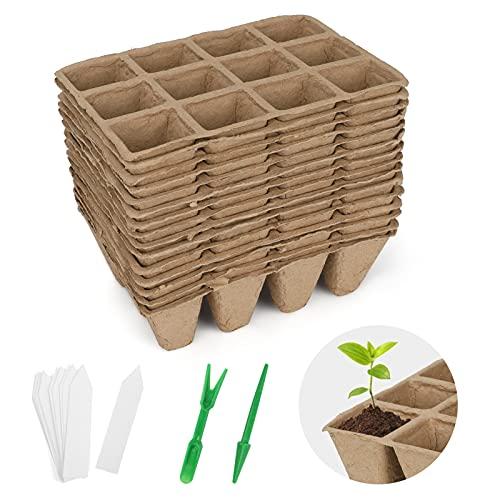 Aceshop 15 Vassoi per Semi, 12 Griglie Quadrate per Torba per Piantine Kit di Germinazione di Vasi di Torba Organica con 15 Etichette di Piante in Plastica per Frutta Verdura Fiore, Interno ed Esterno