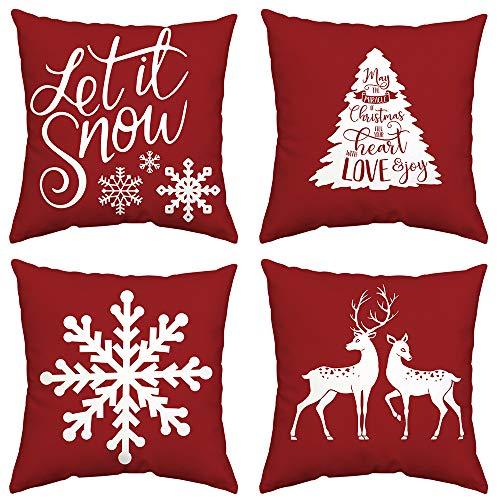 GTEXT - Juego de 4 Fundas de Almohada navideñas, diseño navideño, Color Rojo