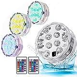 Sommergibile Luce LED Colore che cambia Con Telecomando Luci Subacquee con galleggianti Illuminazione per luce subacquea per base vaso, acquario, stagno, piscina, giardino (4 luci)