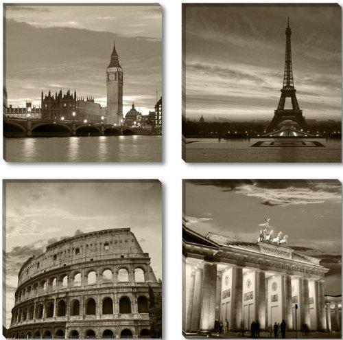Visario Leinwandbilder 6604 Bild auf Leinwand Städte London Paris Rom Berlin, 4 x 30 x 30 cm, 4 Teile