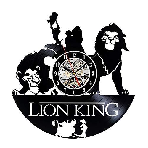 Radiancy Inc Vinyl record wandklok antieke stijl leeuw koning creatieve retro home decoratie wandklok handleiding mute led klok