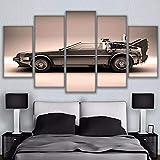 SFDHG 5 Partes impresión Regreso al Futuro Coche Mural no tejidohd Cuadros parafondo del Dormitorio-No Frame-110x60Cm