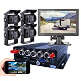 "JOINLGO 4CH GPS 4G WiFi 1080P Mobile Vehicle Car DVR MDVR Audio and Video Recorder Kit Remote Live View on Phone and PC 10.1"" HDMI Screen 4 Side Front Rear View Car Cameras for Truck Bus RV"