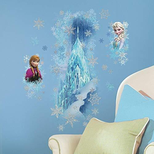 Sticker Géant Repositionnable Disney la Reine des Neiges Palais de Glace avec Anna et Elsa