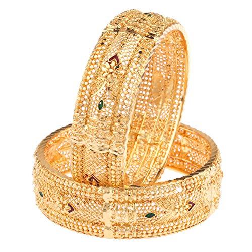 Efulgenz Indian Style Bollywood 14 K Gold Plated Faux Pearl Kundan Rhinestone Wedding Bridal Bracelet Bangle Set Jewelry (2.8, Style 4)