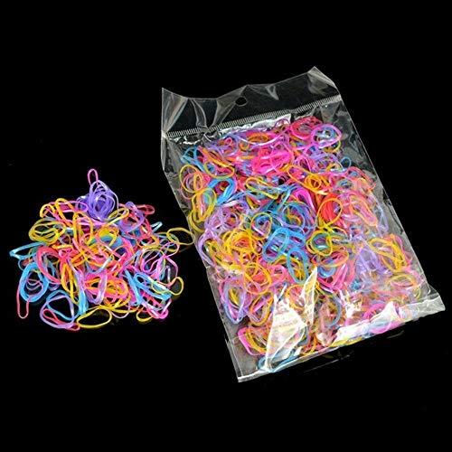 1000 Stks Wegwerp Rubber Bands Haarband Touw TPU Elastische briefpapier Houder Band School Kantoor Bruiloft Vlechten Haarbenodigdheden Antiek Zilver