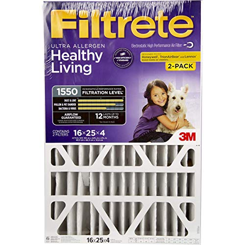 Filtrete 16x25x4, AC Furnace Air Filter, MPR 1550 DP, Healthy Living Ultra Allergen Deep Pleat, 2-Pack