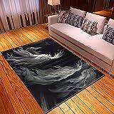 XuJinzisa Halloween Teschio Super Morbido Flanella Antiscivolo Tappeto Stampa 3D Soggiorno Camera da Letto Tappeto Decorazione della Casa Cuscino W6708 80X150 Cm