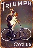トライアンフ自転車ブリキ壁サイン面白い鉄絵ヴィンテージ金属プラーク装飾警告サインぶら下げアートワークポスター用公園