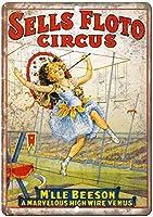 販売法Floto Circus Mlle Beesonレトロティンメタル看板、バー、書斎、リビングルーム、ダイニングルーム、ベッドルーム、カフェ