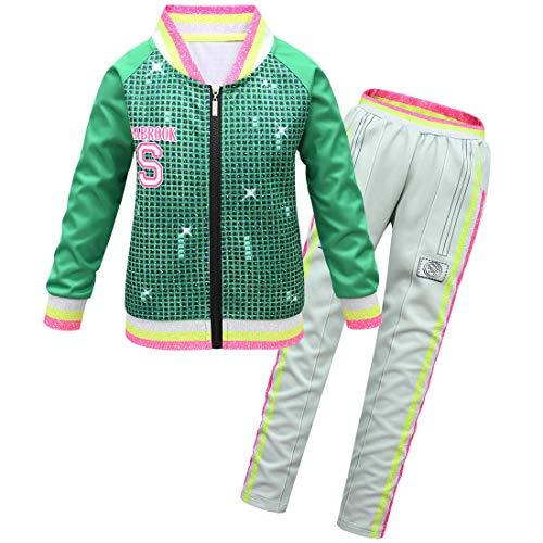 Zombie High School 2 Niños Sudadera con capucha Halloween Conjunto Chicas Chaqueta Pantalones Camiseta 3pcs Traje Verde verde 7-8 Años